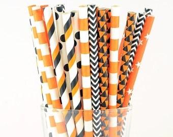 Orange/ Black Mix Paper Straws - Circle/ Stars/ Striped/ Polka Dots/ Chevron/ Triangle - Party Decor Supply - Cake Pop Sticks - Party Favor