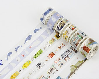 Set of 6 Rolls Life and Cute Animals Washi Tape - 20mmx7m /30mmx7m - Gift Wrapping - Decorative Tape - Scrapbooking Sticker