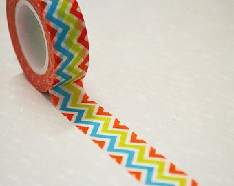 Rainbow Chevron Washi Tape 1 Roll - 15mm x 10m - Gift Wrapping - Decorative Tape - Scrapbooking Sticker