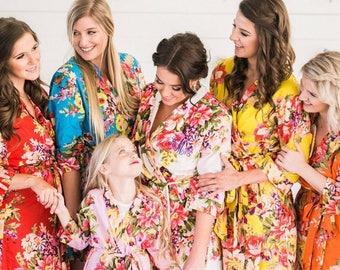 Bridesmaid robes, Bridesmaid gift, cotton floral robes, set of 2, 3, 4, 5, 6, 7, 8, 9, 10, getting ready robes, floral robes, cotton robes