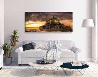 Mont St Michel Canvas France Landmark Panorama Wall Art Picture Home Decor