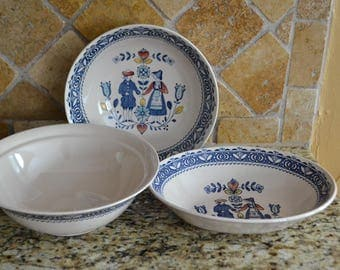 Vintage Johnson Brothers Hearts and Flowers Old Granite Staffordship 3 Bowls
