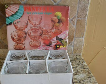 Vintage Glass Ice Cream Cups 6 with Box