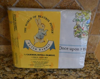 New In Package Vintage Peter Rabbit Beatrix Potter Cannon 3 Pc Twin Sheet Set