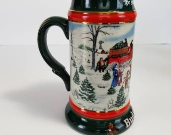 Vintage Budweiser Holiday Beer Stein Mug Clydesdales Ceramarte Brazil Christmas Gift