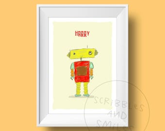 Robot with name - nursery print - nursery art - kids room wall art - Children's wall art - robot wall art