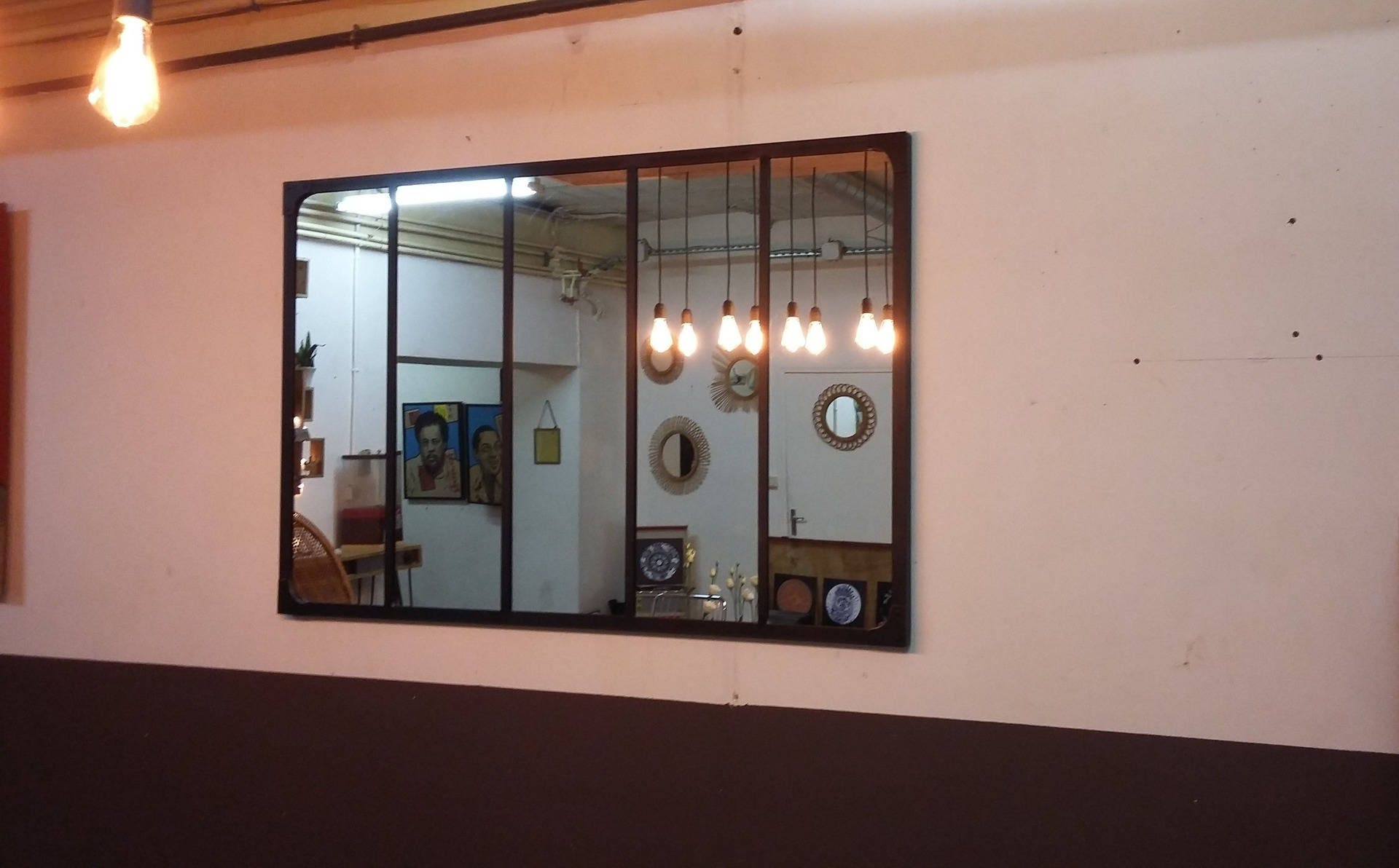 Miroir style verriere industriel 150 x 100 for Miroir verriere