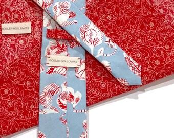 Red Floral Pocket Square