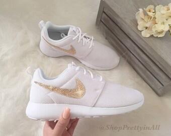 Bling Nike Roshe Shoes with Rose Gold Swarovski Crystals