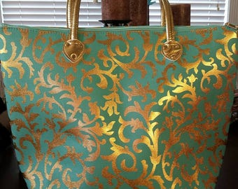 Metallic Gold Ivy Damask Should Tote