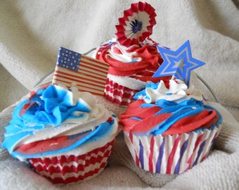 Bath Bomb Cupcakes BULK Buy 1 or set of 5, I Love America, Bubble Bar, Gift For Her, Strawberry Cheese Cake, FREE SHIPPING