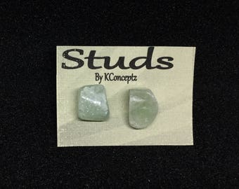 Green Aventurine Quartz Stud Earrings