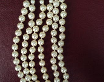 Vintage 18 inch Faux Pearl Triple Strand Necklace