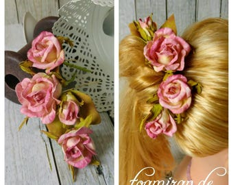 Hair pins wedding communion flower hair accessories rose