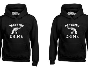 Couple Hoodies Partners in Crime Couples Cute Matching Love Couples Valentine's Day Gift