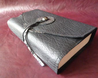 Covers for 18 cm tall maci books - book adaptable black goat leather, customized by 2 round leather fancy matching