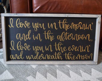Love You Quote Rustic Wood Sign