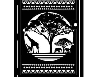 Artistic Steel Gate - Steel Panel Art - African Savannah - Safari Gate - Decorative Safari Wall Gate - Giraffe Gate - Elephant Art Gate