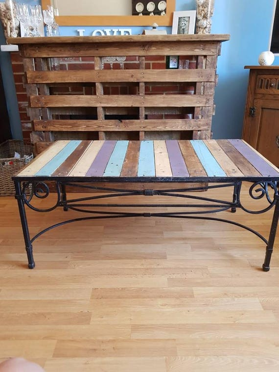 Wrought Iron and Reclaimed Wood Coffee Table