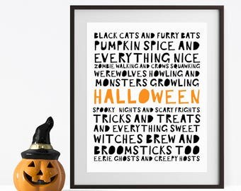 Halloween Printable Decor - Halloween Decorations - Halloween Poster - Halloween Sign - Kids Halloween Party - Cute Halloween Decorations