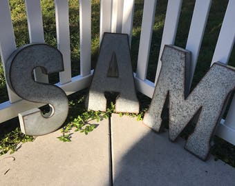 Galvanized Letter U Large Metal Letters  Etsy