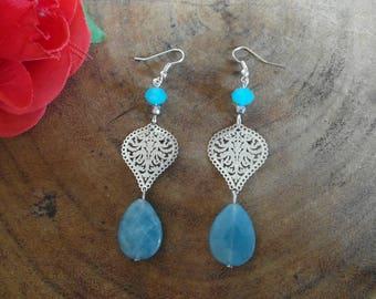 Blue Agate gemstone earrings!
