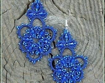 Earrings,Jewellery, jewelry, , gift for Women , Gift, Gift for girls, blue Jewellery  Tatting Bracelet, beads Set