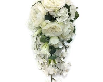 Silk Cream Rose Cascading Shower Bridal Bouquet Free Delivery