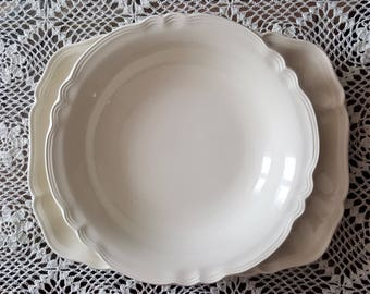 Vintage French Sarreguemines Rectangle Service Plat And RoundSservice Bowl