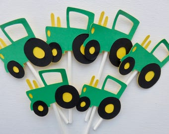Tractor Cupcake Toppers, John Deere Cupcake Toppers, Green Tractors, John Deere Tractors