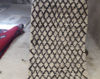 Tapis marocain, tapis berbère, tapis de beni ourain, BENI OURAIN, (185x92cm)