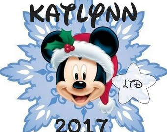 Mickey Christmas Snowflake Personalized Iron On Transfer