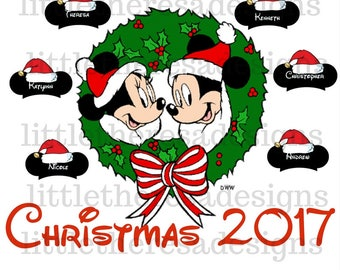 Mickey and Minnie  Santa Hat  Family Christmas Wreath Transfer,Digital Transfers,Digital Iron Ons,Diy