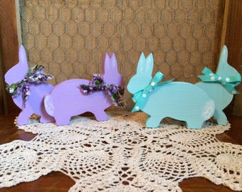 Easter/Spring Decorative Wooden Bunnies Set