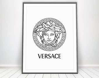 VERSACE Print • Gianni Versace Logo Medusa Head Affiche Versace Poster Circle Print Versace Wall Art Womens Room Versace Decor Beauty Logo