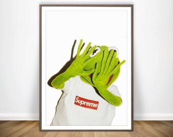 Kermit The Frog Supreme Print Kermit Supreme Shirt Fashion Art The Muppets Supreme Wall Art Supreme Accessories Supreme Merch Supreme Poster