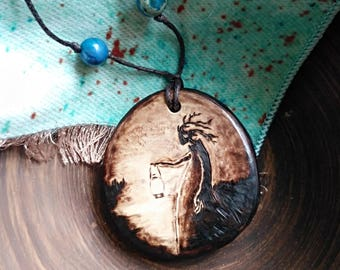Keeper of the forest fantasy wooden necklace – Phantasy pendant gift for Nature lover – Pyrography Fantasy Forest Spirit jewelry handmade