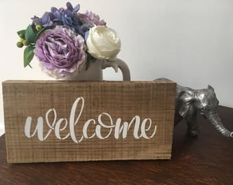 Welcome Wooden sign - Natural Wood - Handmade - Country - Home Decor