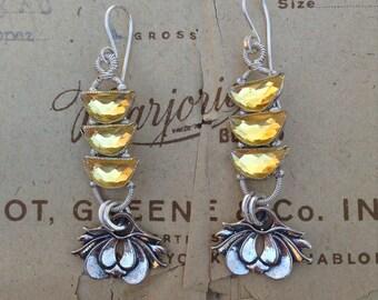 Lotus flower wire wrapped earrings