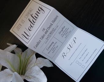 Banners Tri Fold Wedding Invitations with detachable RSVP card