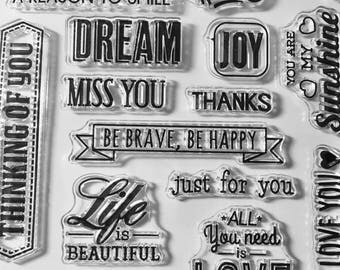 Positive Stamps, Sentiment Stamps, Decorative Stamp, Planner Stamps, Clear Stamps, Rubber Cling Stamps, Card Stamps