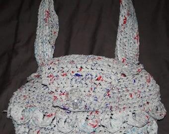 Crochet plarn handbag with key pocket