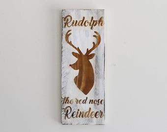 Engraved Pallet Wood Sign- Rudolph the Red Nosed Reindeer | Deer | Gift | Merry Christmas | Holidays | Home Decor | Rustic | Recycled