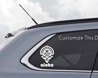 Polynesian Resort Tiki God Disney-Inspired Decal - Aloha, O'Hana, mahalo, or other custom wording available - Custom Vinyl Decal