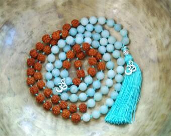 Amozanite Mala Beads, Rudraksha Mala beads, 108 Mala Bead, Mala Necklace, Prayer Beads, Yoga Jewelry, Japa Mala, Meditation, Lawa Necklace