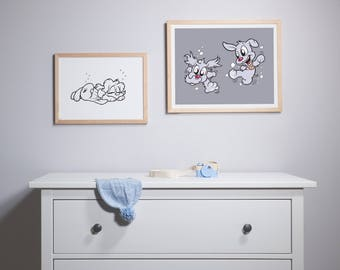 Luna & Lolli Swimming Grey Print