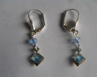 """square Blue Crystal"" earrings 925 sterling silver"