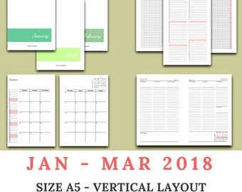 2018 Q1 - JANUARY to MARCH dated - vertical appointment layout- A5 / US half letter size traveler's notebook insert - WO2P / week on 2 pages