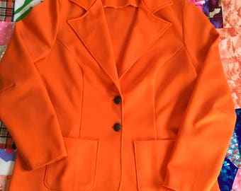 Vintage Bright Orange Polyester Big Collar Blazer With Two Decorative Brass Buttons and Pockets