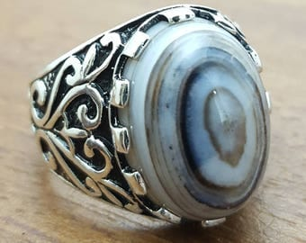 925K Sterling Silver Mens Ring With Natural Yemen Agate Aqeeq